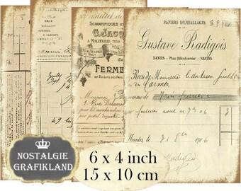 French Ledger 6 x 4 inch Instant Download digital collage sheet D197 Vintage Letter Documents