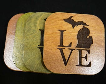 Set of four wood, Love Mitten Coasters
