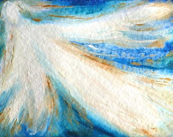 Original angel painting Abstract angel wall art Guardian angel gift decor Watercolor Angel Artwork Blue White Painting Angel wall art