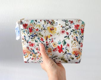 Watercolor Floral Cosmetic Pouch, Floral Make-Up Bag, Watercolor Designer Fabric, Cosmetic Bag, Flat Bottom