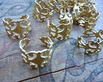 Ornate Adjustable Brass Filigree Ring Blank (1)