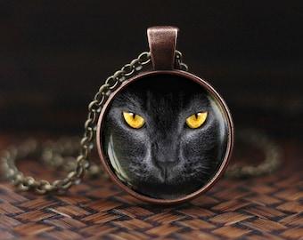 Black cat Pendant, Black cat necklace, Black cat yellow eyes, cat necklace, black cat jewelry, necklace for men, Cat Lover Gifts