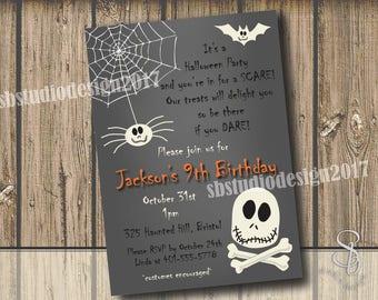 Kids Halloween birthday party invitation.  Skeleton Halloween Invitation.  Kids birthday invitation.  Kids Halloween party invitation.