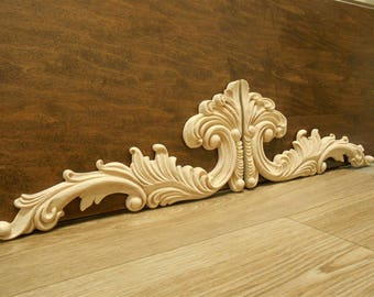 "Wood Applique- Sold as Pair-Large Onlays-  -pc  14 1/4 "" W- 7 3/8"" H -1/2""D- HardWood- ref28s"