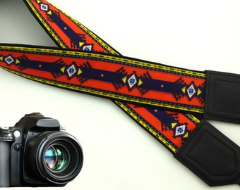 Aztec Camera Strap. Ethnic camera strap. Orange DSLR/ SLR Camera accessories. Photo accessories by InTePro