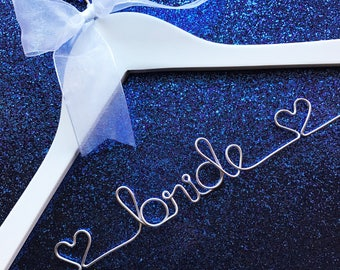 Bride Hanger / Wedding Hanger / Personalized Bridal Hanger / Wire Name hanger / Wire Hanger / Name Hanger / 5 Hanger Colors / 14 Wire Colors