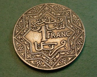 Moroco French 1 franc Nice Details  Y-36.1<>ET6113