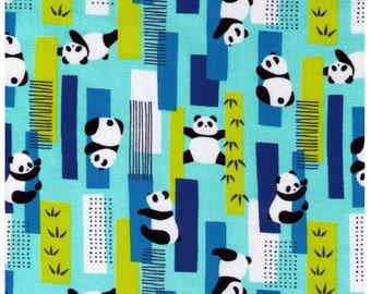 HALF YARD Cosmo Textile - Pandas Climbing on Bamboo BLUE, Aqua, Green- AP75401 2C - Bear, Forest, Tree  - Japanese Import