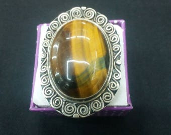 Tiger eye silver ring