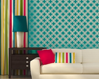 LINKED CIRCLES All over Wallpaper Stencil / Reusable Stencil / DIY / Home Decor / Interiors / Feature Wall / Wallpaper alternative