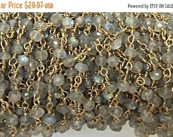 40% OFF 3 Feet Labodorite 3mm Faceted Gold Plated Wire Wrapped Chain -1Foot -CHGS12-LB