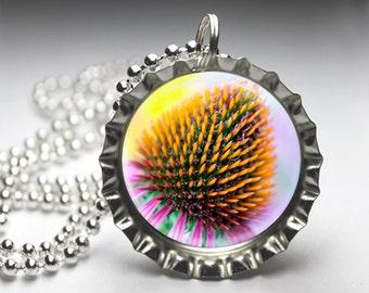 Dandelion Nature Photography Bottlecap Pendant Necklace - Free Ball Chain