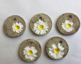 5 solid concrete gift tags/ornaments/Daisy tags