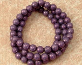 Czech Glass Druk Beads, 6mm Round, Purple Metallic 25 Pc. C276