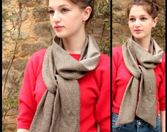Mixed scarf, Camel Brown and Puce foot Chevron. Wool and Acetate
