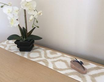 Tan Ikat Table Runner - Short Table Runner - Dresser Scarf - Buffet Scarf - Animal print runner