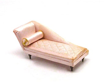 Doll House Miniature Boudoir Chaise Longue, Petite Princess, Ideal Toy Co., Fainting Couch, 1:12 Scale, 4408-1 200, Satin, Pink, Retro, 1964