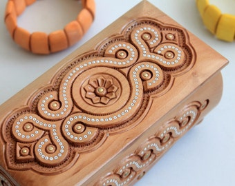 Small Wooden Carved Box, Jewerly Storage, Jewerly Box, Handmade jewelry box, Gift for her