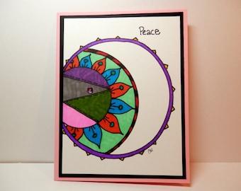 Peace Notecard, Greeting Card, Original Art, Handmade, Card, Peace, Zentangle Art
