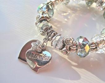 "Heart Bracelet  "" I Love You """