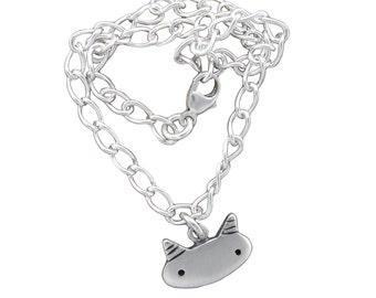 Silver Cat Charm Bracelet - Sterling Silver Starter Charm Bracelet with One Charm