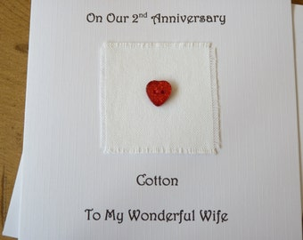 2nd wedding anniversary card  2nd anniversary card - Husband Wife cotton anniversary
