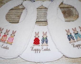 Easter Bunny Baby Bib, Baby Easter Basket, Toddler Bib, Bunny Rabbit, Cottontail, Adjustable Bib Size Infant to Toddler, Houndstooth Bib
