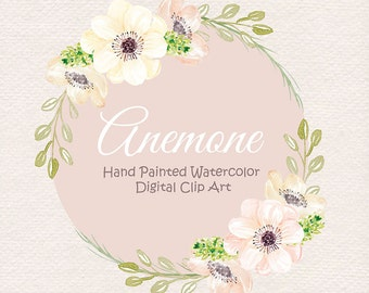 Watercolor Anemone Blush clipart, watercolor flower, Pink Floral Clipart,  Wedding Clip Art, wedding invitation, watercolour clipart