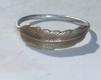 Little Feather- Sterling Silver and Brass -Stacking Ring