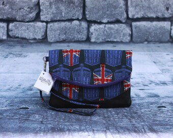 Dr. Who inspired foldover wristlet. Pattern by Swoon Patterns