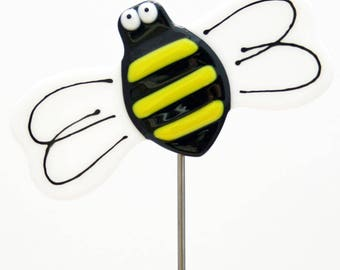 Glassworks Northwest - Honey Bee Plant Stake - Fused Glass Garden Art