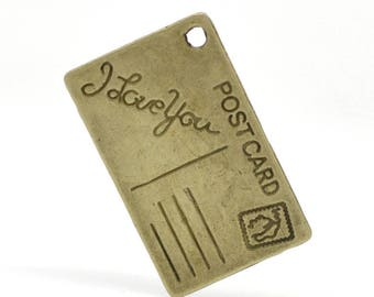 "Charm pendant ""Postcard i love you"" 26x16mm"
