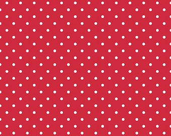 Riley Blake, White Swiss Dots on Red, fabric by the yard