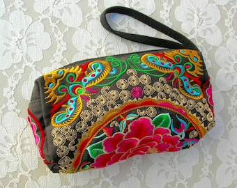 Small Colorful Handbag, embroidered Guatemalan fabric, flower & butterflies, 3 zippered compartments and a strap, like new,  small purse
