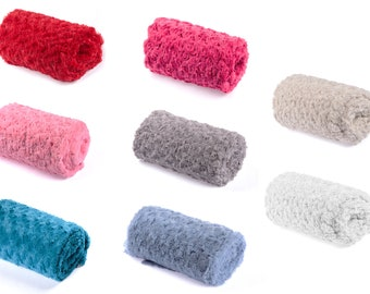 Rose Swirl Textured Plush soft Fabric available in 8 colours 50 x 160 cm