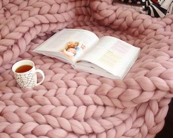 Giant Blanket, 100% Merino Wool Blanket, Chunky Knit Blanket, Thick Knit Blanket, Blanket Throw, Chunky Wool Blanket, Home decor