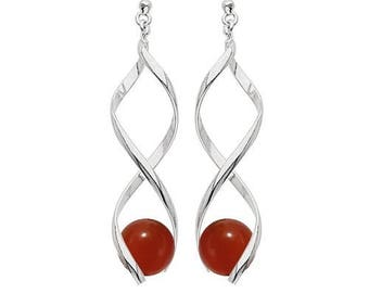 Silver plated swirl earrings - carnelian