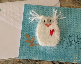 Thank You! Handknit Owl Card with Embossed and Lined Envelope and Confetti