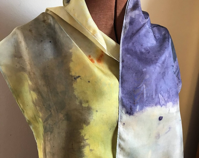 Handpainted naturally dyed silk scarf - unique, one of a kind, plant dyed eco friendly fashion. 007