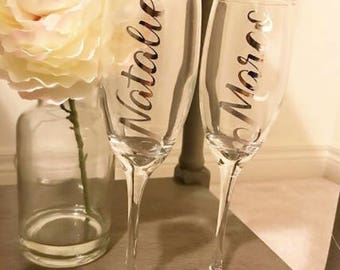 Custom Name Champagne Flutes