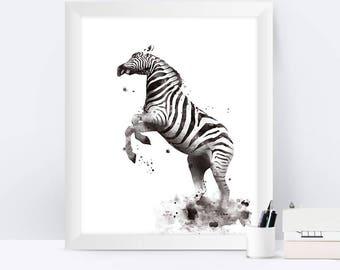 Zebra Print Animal Print Zebra Art Print Black and White Zebra illustration Animal Art Decor Nursery Art Instant Download