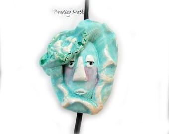 Focal Bead,  Face Bead, Handmade bead, Ceramic bead,                              #31