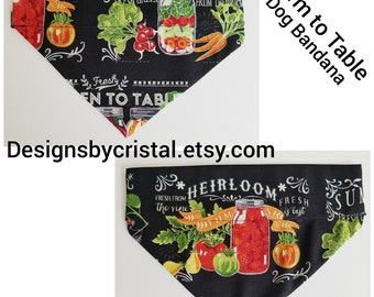 Farm To Table Dog Bandana, Vegetable Dog Bandana, Dog Gift, Veggie Lover Gift, Slip On Dog Bandana