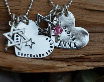 Bat-Mitzvah Gift Necklace Personalized- 1.2mm Sterling Silver Bead Chain- Heart or Disc Charm & Birthstone-Stamped Hebrew or English