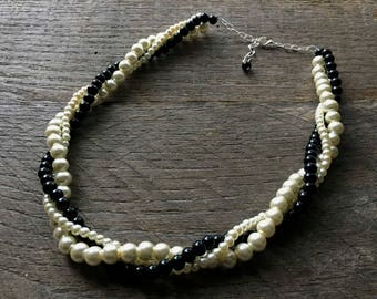 Ivory Black Pearl Necklace, Wedding Necklace, Pearl Bridal Twisted Necklace, Simple Necklace on Silver or Gold Chain