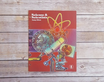 USPS Science and Scientists Stamp Album 80s Stamp Collecting Young Stamp Enthusiast Book Unused Stamp Booklet for Kids Retro Stamp Album