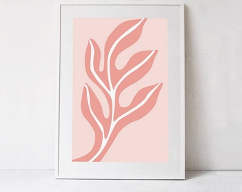 Blush Pink Art Print, Pastel Pink Wall Decor, Pink Printable Artwork, Blush Pink Decor, Pink Leaf Art Blush Pink Home Decor Digital Download