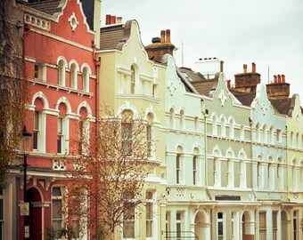 """London art print, London houses, London photography, large photography - """"Streets of Color"""""""