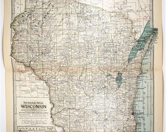 1897 Antique Wisconsin State XL Map