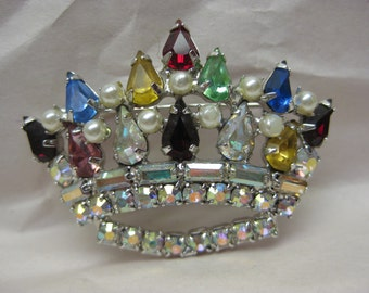 Crown Rhinestone Brooch Blue Red Aurora Yellow Green Vintage Silver Pin
